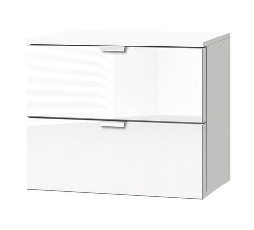 KOMMODE Weiß  - Alufarben/Weiß, KONVENTIONELL, Glas/Metall (50/42/42cm) - Carryhome