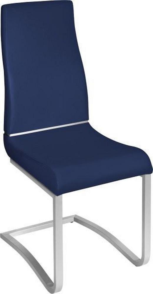 SCHWINGSTUHL Lederlook Blau, Edelstahlfarben - Blau/Edelstahlfarben, Design, Textil/Metall (44/102/58cm) - Novel