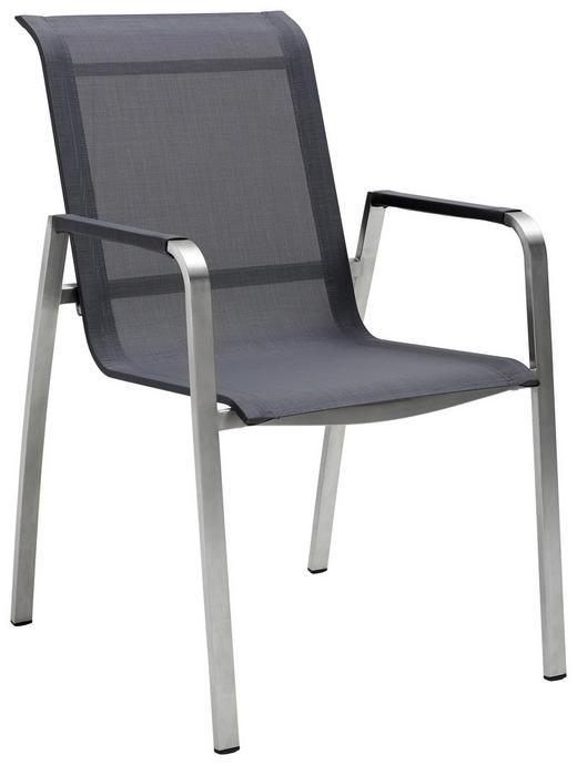 STAPELSESSEL Edelstahl Edelstahlfarben, Grau - Edelstahlfarben/Grau, Design, Textil/Metall (56/91/65,50cm) - Amatio