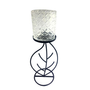 VÄRMELJUSHÅLLARE - klar/svart, Basics, metall/glas (12/31/10cm) - Ambia Home