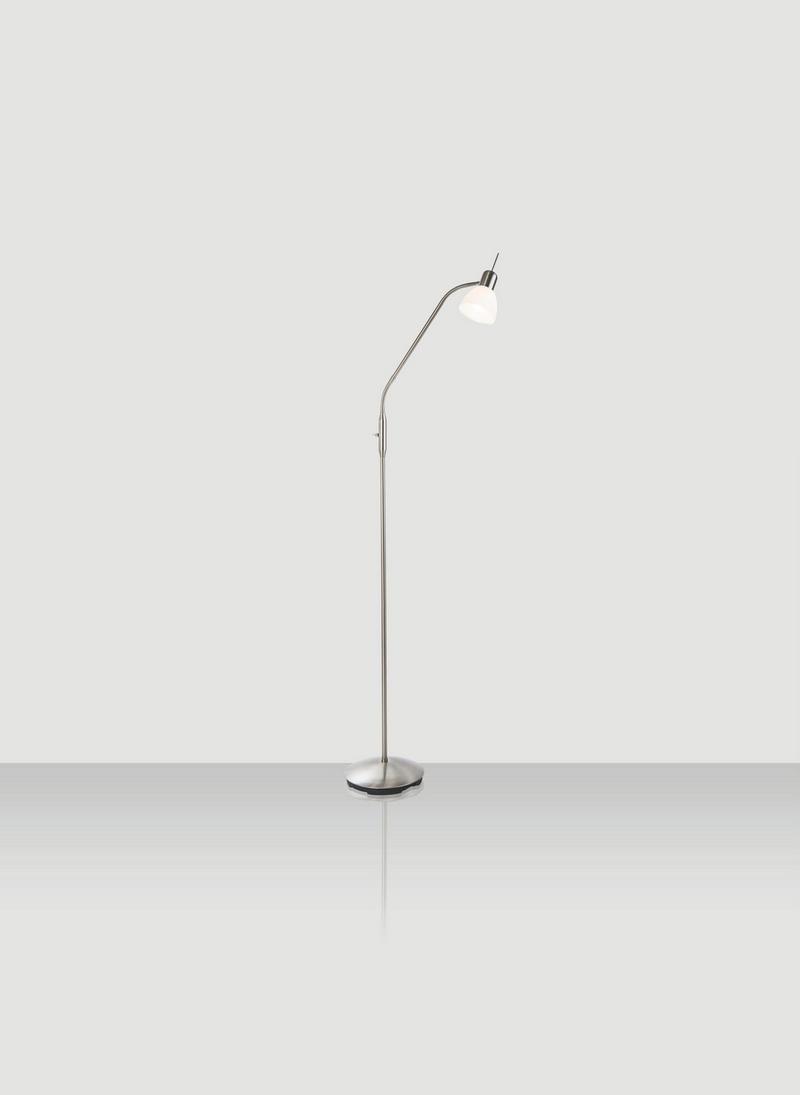 LED-GOLVLAMPA - vit/nickelfärgad, Design, metall/glas (145cm) - Novel