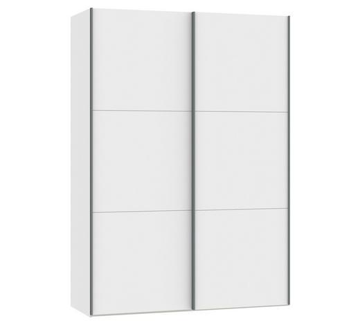 SCHWEBETÜRENSCHRANK in Weiß - Silberfarben/Weiß, Design, Glas/Holzwerkstoff (152,2/220/65cm) - Jutzler