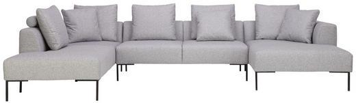WOHNLANDSCHAFT in Textil Hellgrau - Hellgrau/Schwarz, Design, Textil/Metall (222/370/166cm) - Lomoco