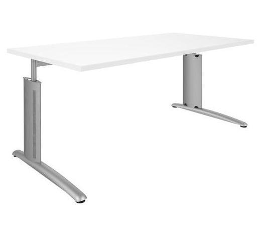 SCHREIBTISCH Weiß, Alufarben  - Alufarben/Weiß, Design, Metall (160/68 (82)/80cm) - Moderano