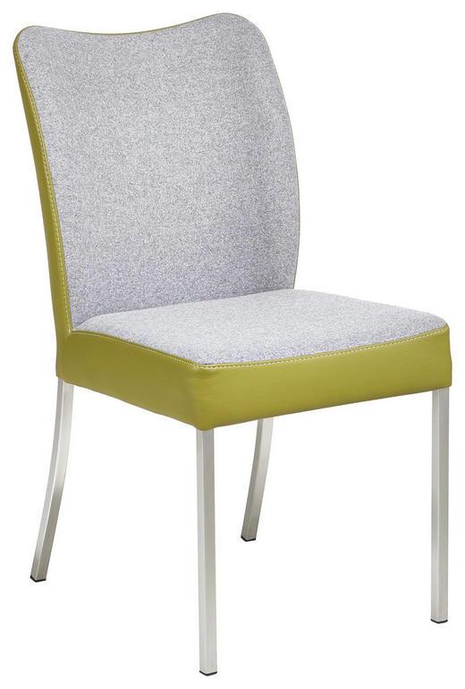STUHL Echtleder Grau, Grün - Grau/Grün, Design, Leder/Textil (47/89/63cm) - BERT PLANTAGIE
