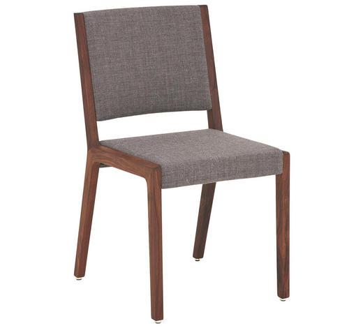 STUHL in Holz, Textil Grau, Nussbaumfarben - Nussbaumfarben/Grau, Design, Holz/Textil (46/84/55cm) - Team 7