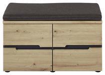 GARDEROBENBANK 80/48/38 cm  - Eichefarben/Graphitfarben, Design, Holzwerkstoff/Textil (80/48/38cm) - Voleo
