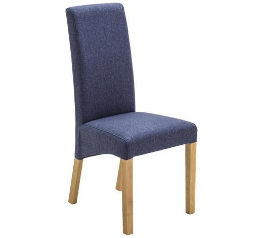 STUHL in Holz, Textil Blau, Eichefarben  - Blau/Eichefarben, KONVENTIONELL, Holz/Textil (47/102/57cm) - Xora