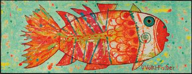 FUßMATTE 75/190 cm Abstraktes Grün, Multicolor, Orange - Multicolor/Orange, Basics, Kunststoff/Textil (75/190cm) - Esposa