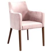ARMLEHNSTUHL Samt Rosa  - Walnussfarben/Rosa, Trend, Holz/Textil (60/87/70cm) - Kare-Design