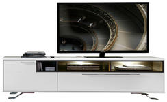 TV-ELEMENT 215/57/52 cm - Chromfarben/Hellgrau, Design, Holzwerkstoff/Metall (215/57/52cm) - Hom`in