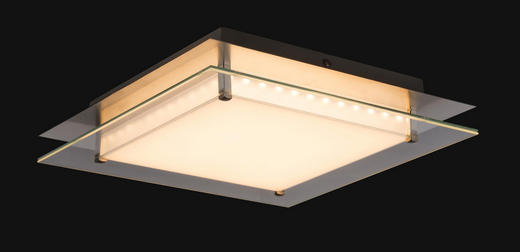 LED-DECKENLEUCHTE - KONVENTIONELL, Glas/Metall (34/34/7cm)