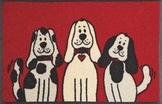 FUßMATTE 50/75 cm Hund Rot, Schwarz, Weiß - Rot/Schwarz, Basics, Kunststoff/Textil (50/75cm) - Esposa