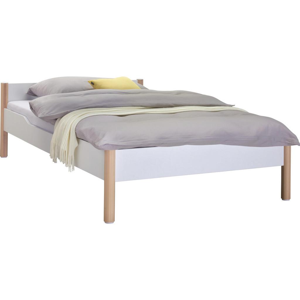 Bett 200 Cm X 90 Cm In Holz, Holzwerkstoff Birkefarben, Weiß
