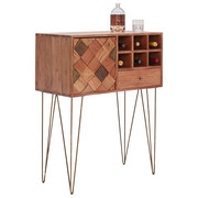 BAR in Akaziefarben, Messingfarben - Messingfarben/Naturfarben, Trend, Holz/Metall (82/105/40cm) - Ambia Home
