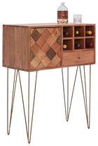 BAR in Akaziefarben, Messingfarben - Messingfarben/Naturfarben, Trend, Holz/Metall (82/105/40cm) - Ambia Home