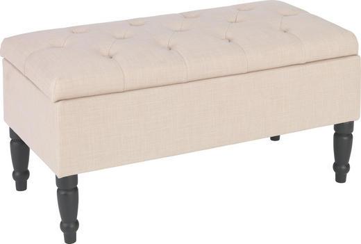 SITZBANK Flachgewebe massiv Beige - Beige/Schwarz, LIFESTYLE, Holz/Textil (80/40/40cm) - Carryhome