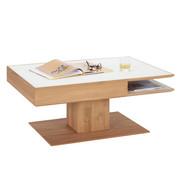 COUCHTISCH in Eichefarben, Weiß - Eichefarben/Weiß, Design, Glas/Holz (105/75/46cm) - Valnatura