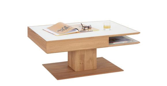 COUCHTISCH in Glas, Holz 105/75/46 cm - Eichefarben/Weiß, Design, Glas/Holz (105/75/46cm) - Valnatura