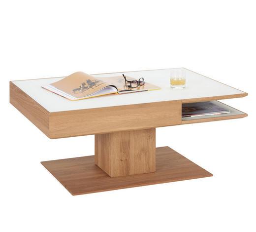 COUCHTISCH in Holz, Glas 105/75/46 cm - Eichefarben/Weiß, Design, Glas/Holz (105/75/46cm) - Valnatura