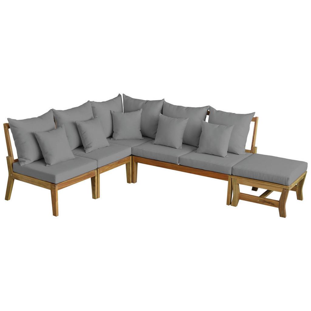 Ambia Garden Loungegarnitur Webstoff Akazie Massiv Braun Grau