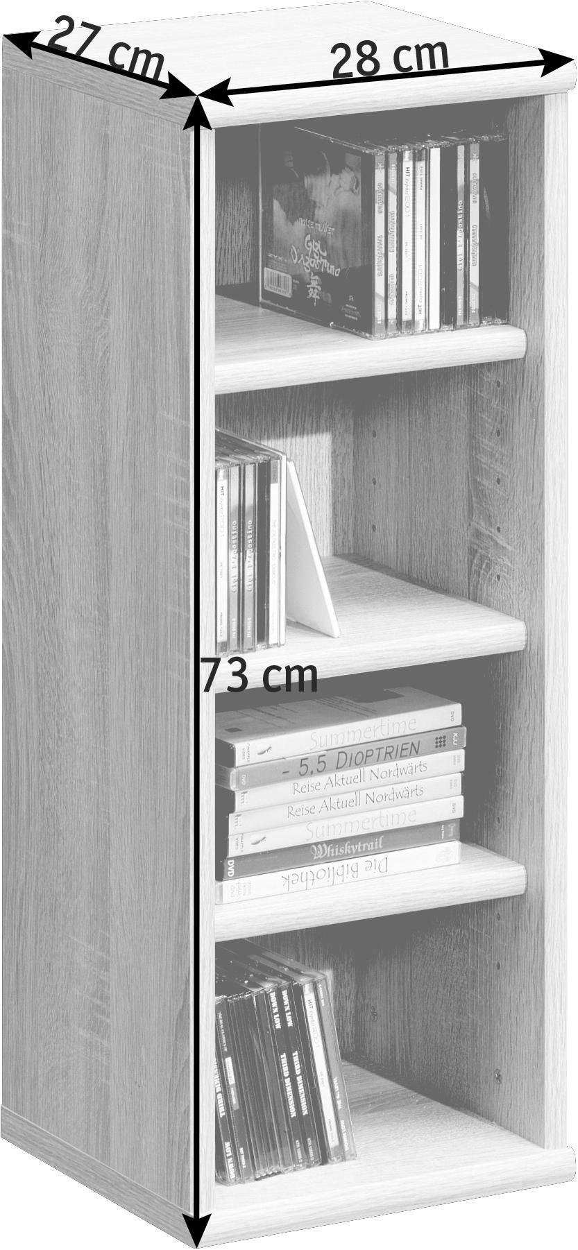 REGAL Weiß - Weiß, Design, Holz (28/73/26cm) - CS SCHMAL
