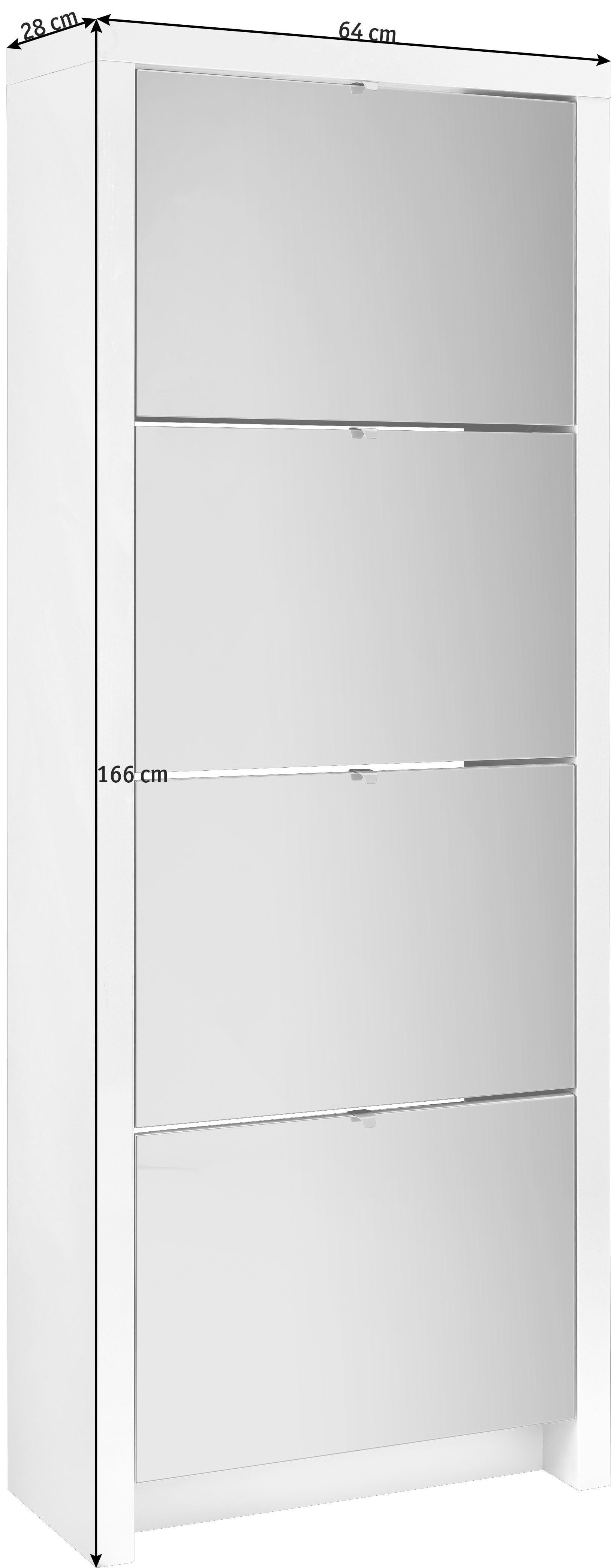 ORMARIĆ ZA OBUĆU - bijela/boje aluminija, Design, staklo/drvni materijal (64/166/28cm) - XORA