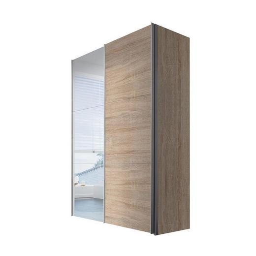 SCHWEBETÜRENSCHRANK 2-türig Sonoma Eiche - Weiß/Sonoma Eiche, KONVENTIONELL, Glas/Holzwerkstoff (150/216/68cm) - Hom`in