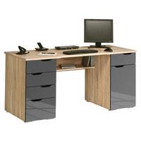 PISALNA MIZA leseni material hrast sonoma, siva - siva/hrast sonoma, Basics, leseni material (160/74,5/67cm) - VOLEO