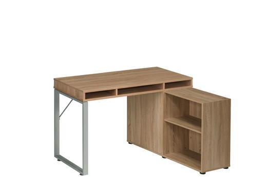 SCHREIBTISCH Eichefarben, Platinfarben - Platinfarben/Eichefarben, KONVENTIONELL, Holz/Metall (150/78/117,7cm) - Carryhome