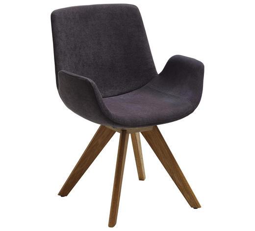 STUHL in Textil Grau, Eichefarben - Eichefarben/Grau, Design, Holz/Textil (63/86/57cm) - Valdera