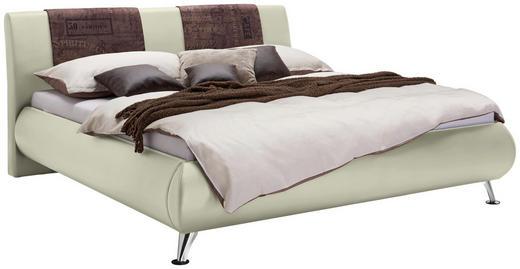 POLSTERBETT  in Beige, Braun - Chromfarben/Beige, Design, Holz/Textil (140/200cm) - Carryhome