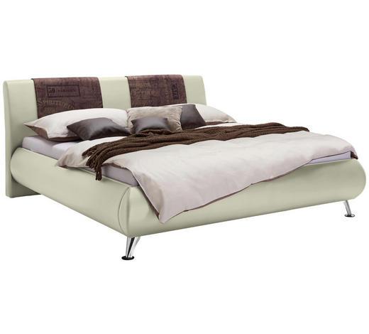 POLSTERBETT 180/200 cm  in Braun, Beige - Chromfarben/Beige, Design, Holz/Textil (180/200cm) - Carryhome
