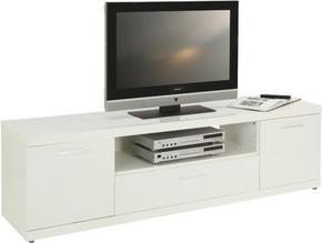MEDIABÄNK - vit/alufärgad, Design, träbaserade material/plast (172/50/40cm) - Carryhome