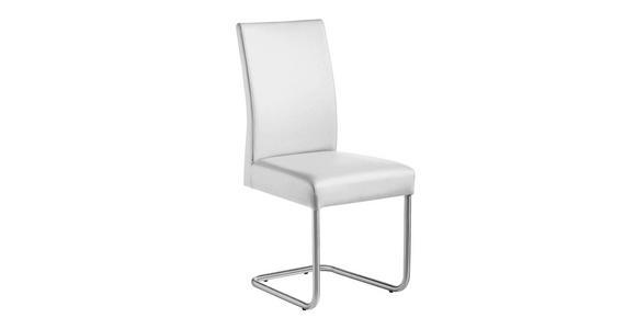 SCHWINGSTUHL Lederlook Edelstahlfarben, Weiß - Edelstahlfarben/Weiß, Design, Textil/Metall (48/99/69cm) - VALNATURA