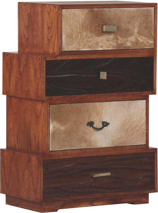 KOMMODE Eiche, Mahagoni massiv, teilmassiv Braun - Braun, Design, Holz/Metall (62/90/35cm)
