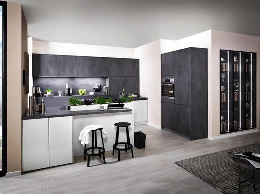 EINBAUKÜCHE - Dunkelgrau/Weiß, Design - Eschebach