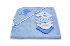 KAPUZENBADETUCHSET 80/80 cm  - Blau/Weiß, Basics, Textil (80/80cm) - My Baby Lou