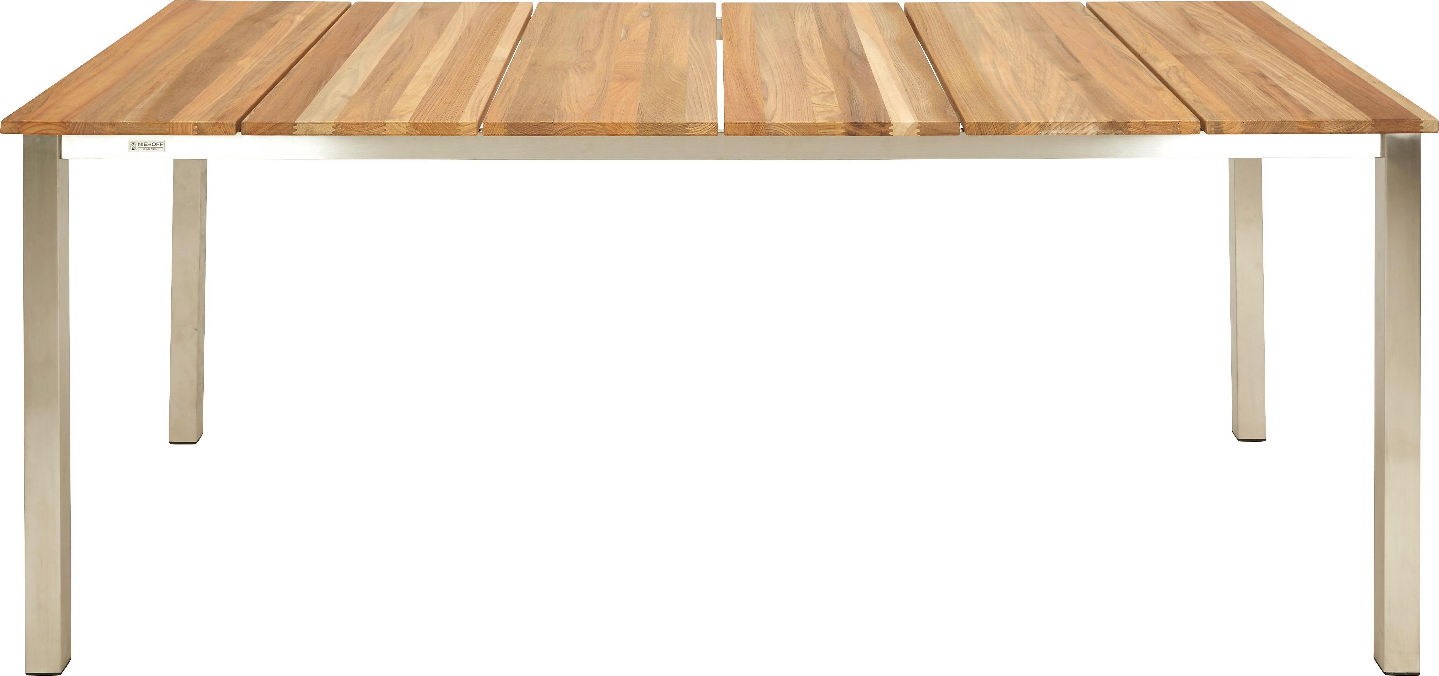 GARTENTISCH Holz Teakfarben - Edelstahlfarben/Teakfarben, Design, Holz/Metall (95/76/200cm)