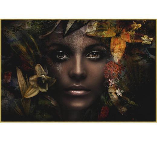 Glasbild - Goldfarben/Schwarz, Basics, Glas/Papier (120/80cm) - Monee
