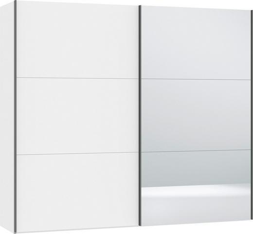 SCHWEBETÜRENSCHRANK 2-türig Weiß - Silberfarben/Weiß, Design, Glas/Holzwerkstoff (252,8/220/65cm) - Jutzler