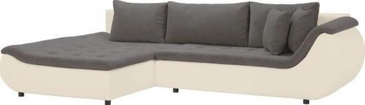 WOHNLANDSCHAFT Webstoff Rückenkissen, Schlaffunktion, Zierkissen - Creme/Schwarz, Design, Kunststoff/Textil (185/310cm) - Carryhome