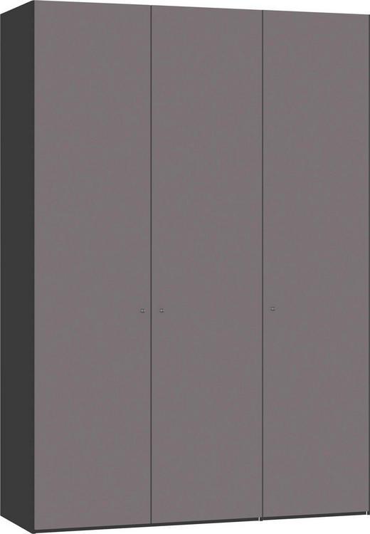 DREHTÜRENSCHRANK 3-türig Dunkelgrau, Schwarz - Dunkelgrau/Silberfarben, Design, Glas/Holzwerkstoff (152,2/220/58,5cm) - Jutzler