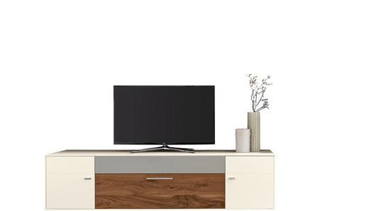 TV-ELEMENT Astnuss furniert Nussbaumfarben, Weiß - Chromfarben/Nussbaumfarben, Design, Holz/Holzwerkstoff (230/57/56cm) - Moderano