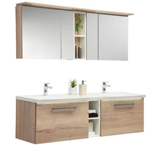 BADEZIMMER - Eichefarben/Weiß, Design, Glas/Holzwerkstoff (170cm)