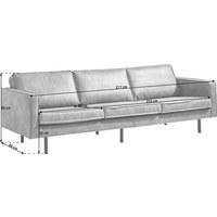 DREISITZER-SOFA in Braun Textil - Schwarz/Braun, Design, Textil/Metall (277/85/86cm) - Ambia Home