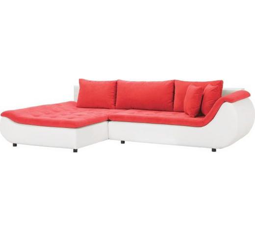 WOHNLANDSCHAFT in Textil Rot, Weiß - Rot/Schwarz, Design, Kunststoff/Textil (185/310cm) - Carryhome