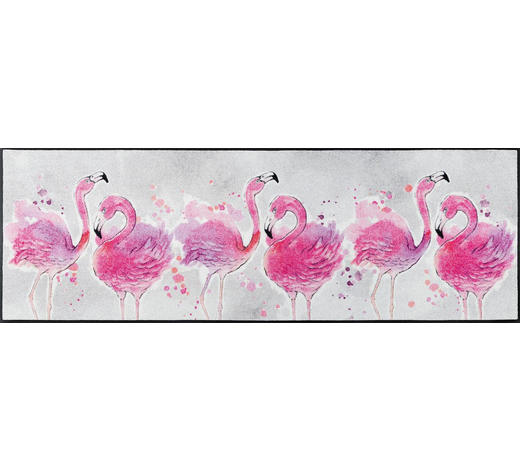 FUßMATTE 60/180 cm Flamingo Rosa, Hellgrau  - Hellgrau/Rosa, Trend, Kunststoff/Textil (60/180cm) - Esposa