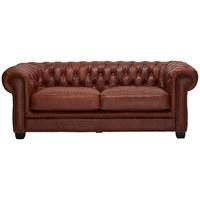 KŘESLO CHESTERFIELD, hnědá, dřevo, kůže, - černá/hnědá, Basics, dřevo/kůže (200/74/92cm) - Ambia Home