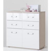 KOMODA, bela, jesen - jesen/bela, Design, umetna masa/leseni material (88/89/40cm) - Xora